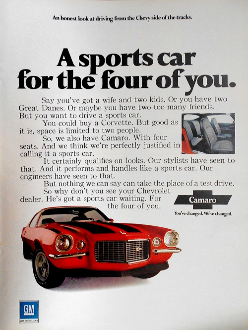 1972 Camaro Z/28 Sports Car For Four Ad