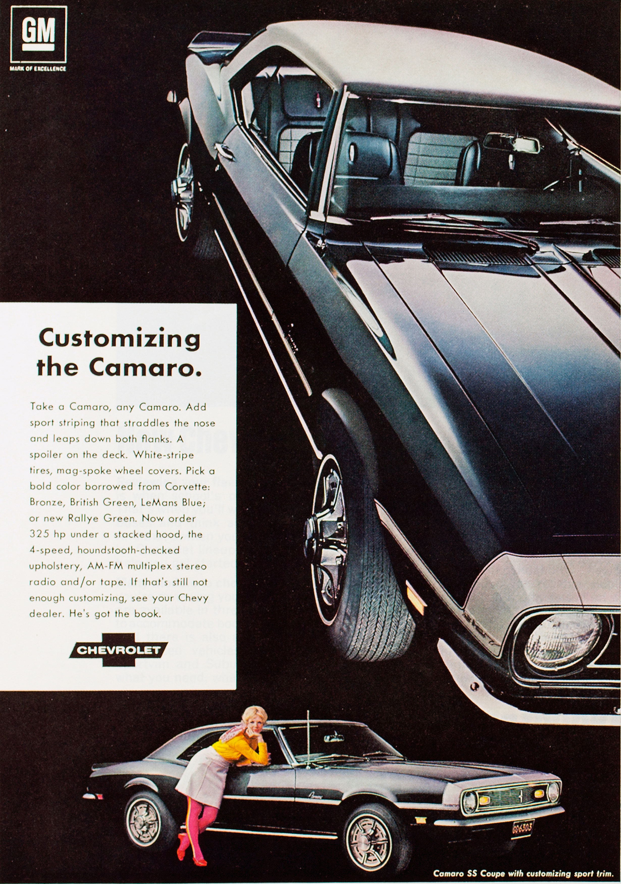 Coolest Chevrolet Camaro Ads Of The 1960s Chevys Only 1968 Chevy Ss Ad Customizing