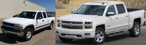 1999 Silverado and 2016 Silverado side by side