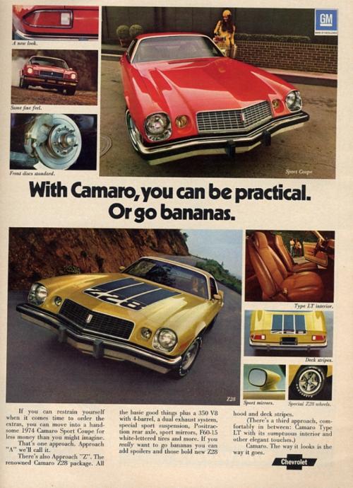 1974 Camaro Go Bananas Ad